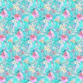 Extra Tiny Pretty Pastel Hawaiian Hibiscus Print