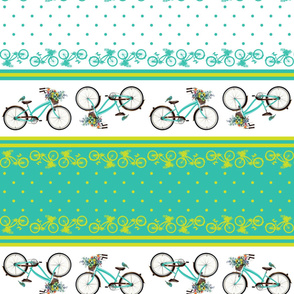 Bicycle bird flowers and polka dots in turquoise and lime