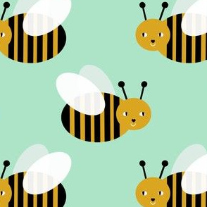 bumble bee fabric bees garden summer cute stripes baby nursery mint