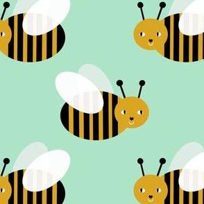 bumble bee fabric bees garden summer cute stripes baby nursery mint