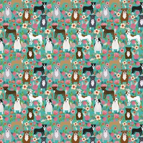 pitbull floral dog breed fabric turquoise