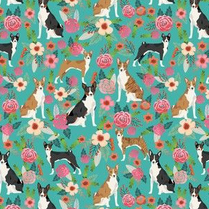 basenji floral (smaller scale) dog breed flowers fabric