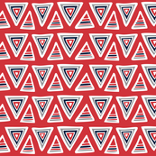 Triangulate - Geometric Red, Navy & Gray