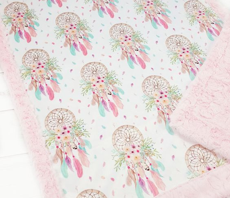 Girly Dream Catchers – Pink Mint Aqua Feathers Baby Girl Nursery Blanket GingerLous LARGE SCALE A