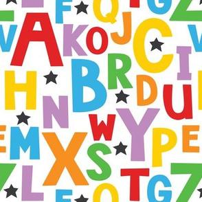 alphabet in bright-colors