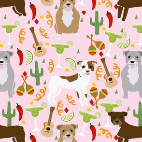 pitbull fiesta (larger scale) light pink dog fabric