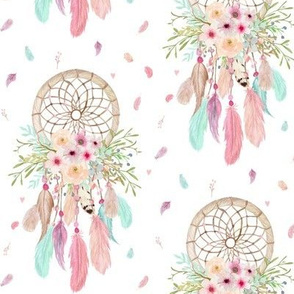 Girly Dream Catchers – Pink Mint Aqua Feathers Baby Girl Nursery Blanket GingerLous MEDIUM SCALE B