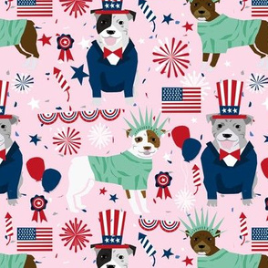 pitbull patriotic (larger scale) pitbulls dog breed fabric