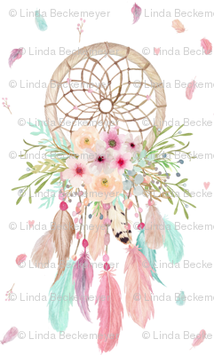 Girly Dream Catchers – Pink Mint Aqua Feathers Baby Girls Nursery GingerLous SMALL SCALE C