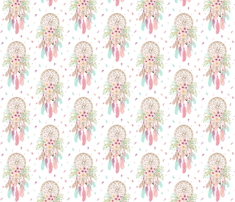 Girly Dream Catchers – Pink Mint Aqua Feathers Baby Girls Nursery GingerLous SMALL SCALE C fabric by gingerlous on Spoonflower - custom fabric