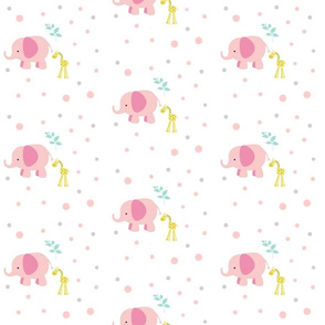 Pink Elephants Giraffe 6 Mint leaves  Polka Dots -gray pink peach