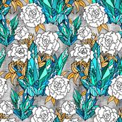 Teal Crystal Floral