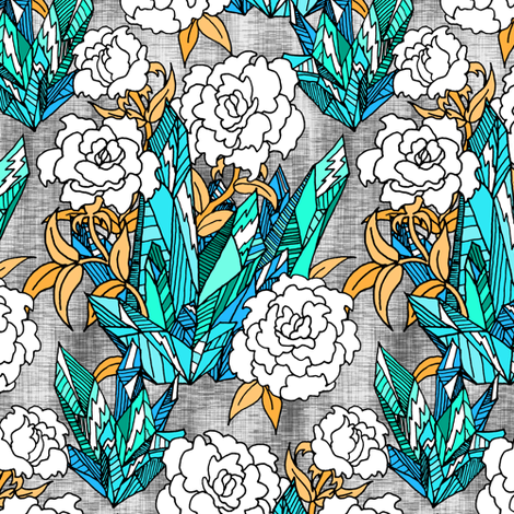 Teal Crystal Floral fabric by pond_ripple on Spoonflower - custom fabric
