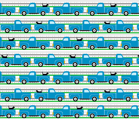Pooches and Pickups Trucks Blue fabric by lauriewisbrun on Spoonflower - custom fabric
