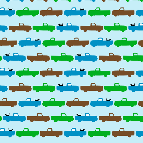 Pooches and Pickups Small Trucks Blue fabric by lauriewisbrun on Spoonflower - custom fabric