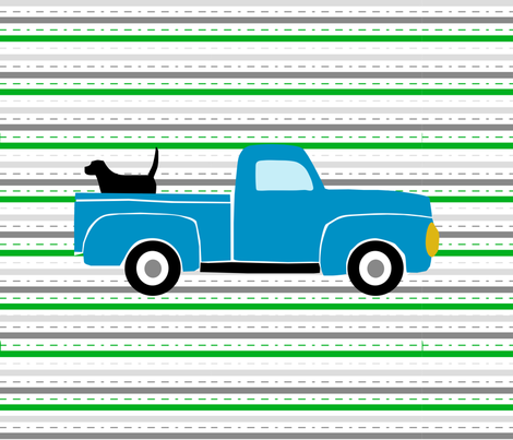 Pooches and Pickups Fat Quarter Blue fabric by lauriewisbrun on Spoonflower - custom fabric
