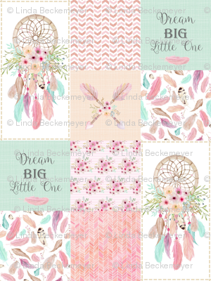 Dream Catcher Patchwork Quilt Top – Wholecloth for Girls Pink Mint Feathers Nursery Blanket Baby Bedding