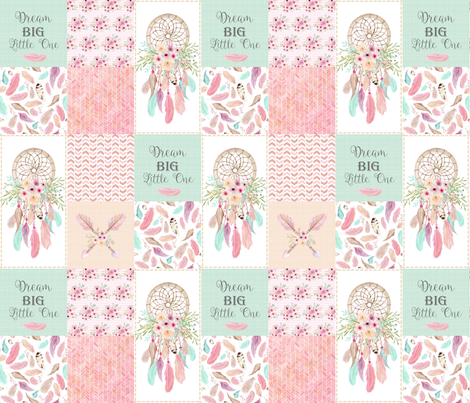 Dream Catcher Patchwork Quilt Top – Wholecloth for Girls Pink Mint Feathers Nursery Blanket Baby Bedding fabric by gingerlous on Spoonflower - custom fabric