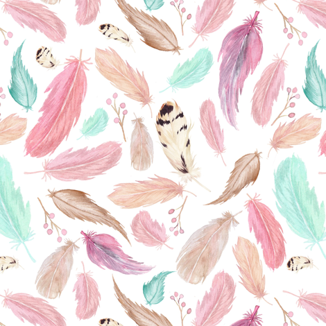 Feathers in Pink Mint Aqua - Coordinate for Omaha Dream Catcher Collection Baby Girls Nursery GingerLous fabric by gingerlous on Spoonflower - custom fabric