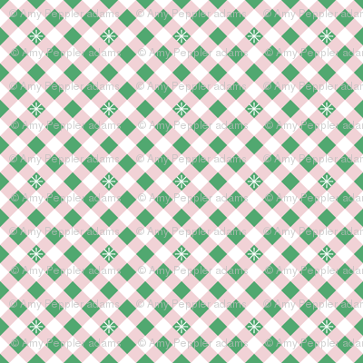 Diagonal Stitched Gingham* (Green Stamps & Capote) || check star starburst stitching needlework checkerboard spring summer 70s retro vintage pink preppy
