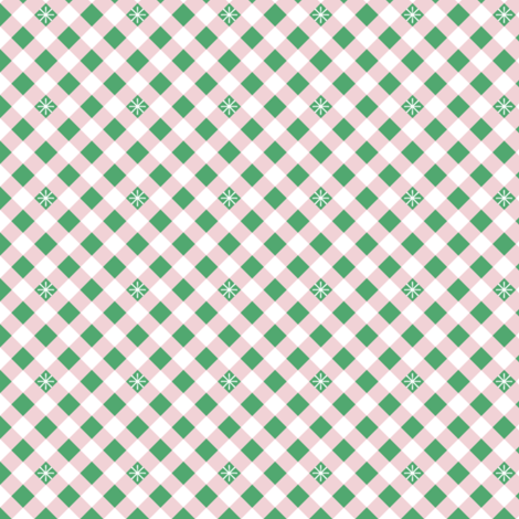 Diagonal Stitched Gingham* (Green Stamps & Capote) || check star starburst stitching needlework checkerboard spring summer 70s retro vintage pink preppy fabric by pennycandy on Spoonflower - custom fabric
