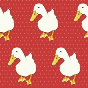 Duck Kiss on coral pale dots red