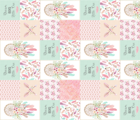 Dream Catcher Patchwork Quilt Top (ROTATED) – Patchwork Wholecloth for Girls Baby Blanket Nursery Bedding fabric by gingerlous on Spoonflower - custom fabric