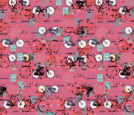 Pink Sky and Bicycles fabric by zmarksthespot on Spoonflower - custom fabric