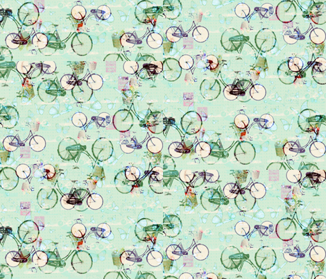 Light Green Bicycle fabric by zmarksthespot on Spoonflower - custom fabric