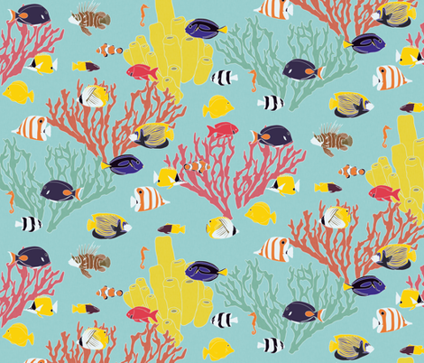 Large Scale Reef Fish on Light Blue fabric by landpenguin on Spoonflower - custom fabric