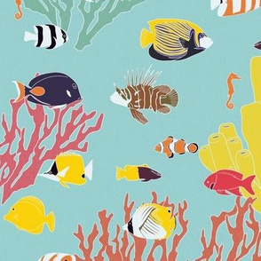 Large Scale Reef Fish on Light Blue