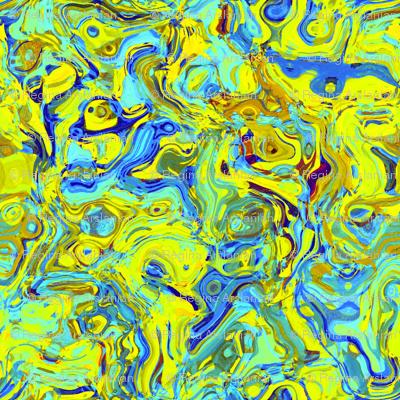 Organic Swirls, Yellow and Blue