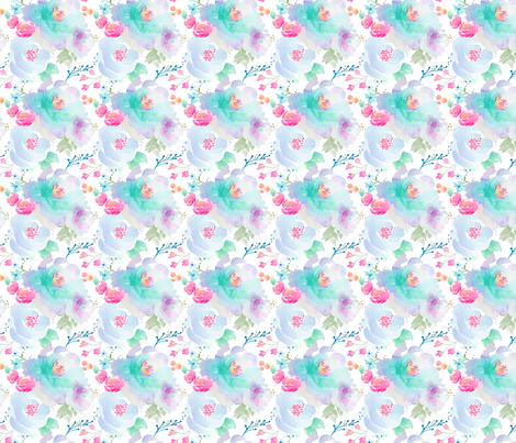 Indy Bloom Design Floral blues B2 fabric by indybloomdesign on Spoonflower - custom fabric