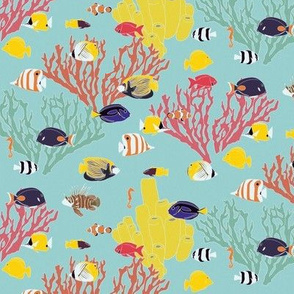 Small Scale Reef Fish on Light Blue