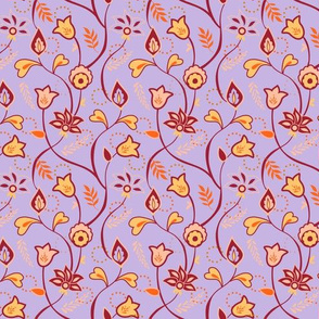 Purple Pink and Orange Whimsical Indian floral