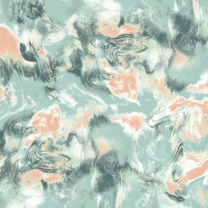 Marble Mist Sage Green and Peach Large Scale