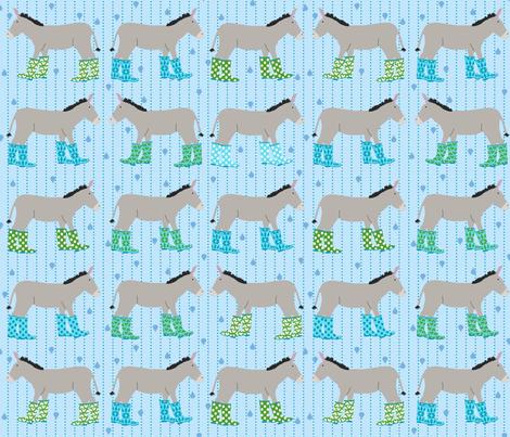 Jack and Jenny Rain Donkeys Blue Green fabric by lauriewisbrun on Spoonflower - custom fabric