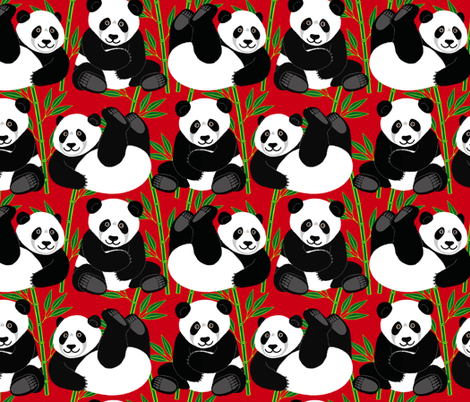 Cuddly Pandas fabric by willowbirdstudio on Spoonflower - custom fabric