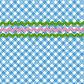 Frolic* (Popeye) || gingham check star stars starburst spring summer rick rack notion sewing smock smocking waves vintage trim retro 70s pastel blue