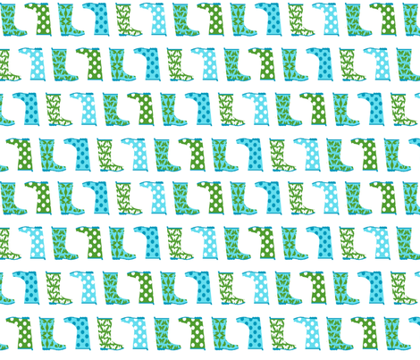 Jack and Jenny Rain Boots Blue Green fabric by lauriewisbrun on Spoonflower - custom fabric