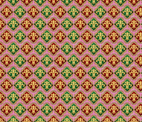 Fancy Harlequin Diamonds on Pink fabric by just_meewowy_design on Spoonflower - custom fabric