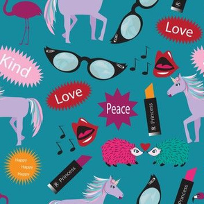 Wacky Peace Love, Teal, Hedgehog, Flamingo, Unicorn, Zany, Wacky Lipstick