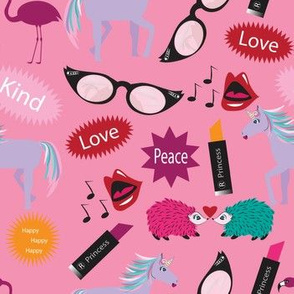 Unicorn - Wacky Peace Love, Pink, Wacky, Zany, Pink, Lipstick, Flamingos, Hedgehogs