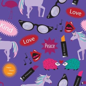 Unicorn - Wacky Peace Love, Purple, Peacock, Wacky, Zany, Lipstick Hedgehog, Flamingo, Unicorn