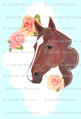 Blue Painted Horse with Vintage Flowers