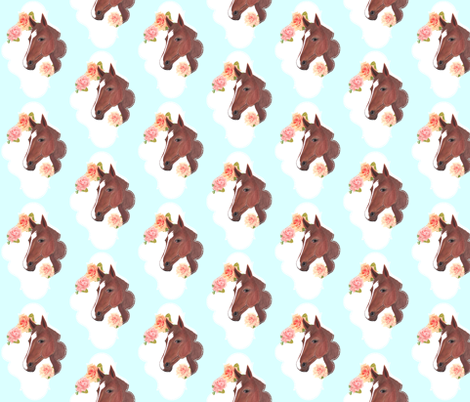 Blue Painted Horse with Vintage Flowers fabric by vintagegreenlimited on Spoonflower - custom fabric