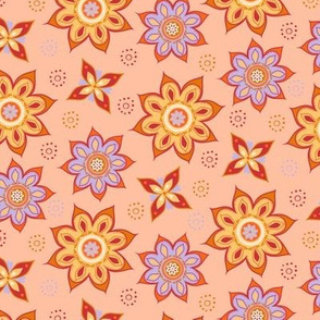 Summer Boho peach, yellow, orange and purple mandala toss