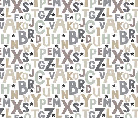 neutral alphabet fabric by lilcubby on Spoonflower - custom fabric