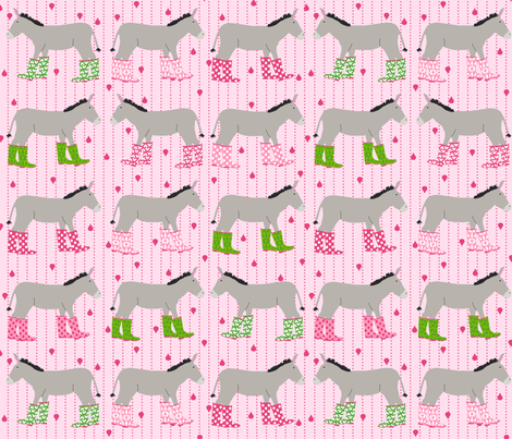 Jack and Jenny Rain Donkeys Pink Green fabric by lauriewisbrun on Spoonflower - custom fabric