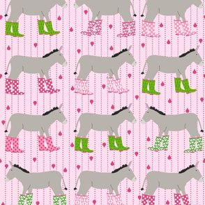 Jack and Jenny Rain Donkeys Pink Green